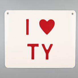 I ❤️ Ty Vintage Pressed Metal Wall Plate