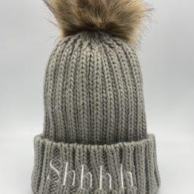 Grey Shhhh Pom-pom Chunky Knit Hat